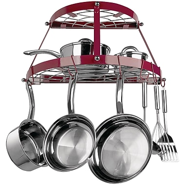 Range Kleen® CW6003R Two Shelf Wall Mount Pot Rack, Red