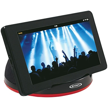 Jensen Portable Stereo Speaker For Tablets and eReaders With Built-in Amp, Black (JENSMPS182)