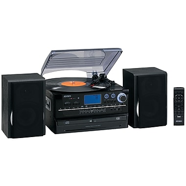 Jensen Turntable 2 CD System W/Cassette And AM/FM Stereo Radio, 33 1/3 RPM/45 RPM/78 RPM (JENJTA980)