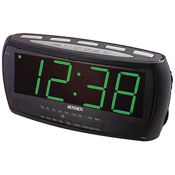 "Jensen® JCR-208 AM/FM Alarm Clock Radio With 1.8"" Green LED Display"
