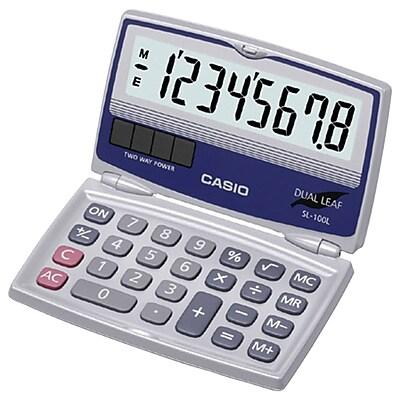 Casio® SL-100L 8-Digit Display Solar Calculator With Folding Hard Case