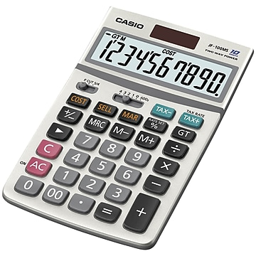Casio JF-100BM 10-Digit Desktop Calculator, Gray