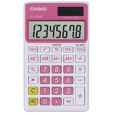 Casio® SL300VC 8-Digit Display Solar Wallet Calculator, Pink