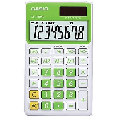 Casio® SL300VC 8-Digit Display Solar Wallet Calculator, Green