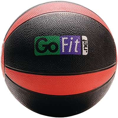 Gofit Rubber Medicine Ball, 8 lbs, Black/Red