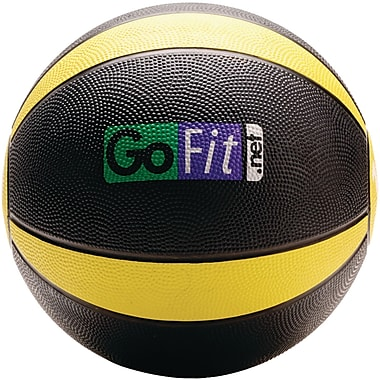 Gofit Rubber Medicine Ball, 10 lbs, Black/Yellow (GOFGFMB10)