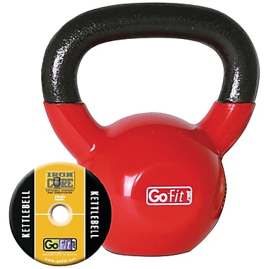 Gofit Vinyl-Dipped Red Kettelbell And Iron Core Training DVD, Red (GOFGFKBELL15)