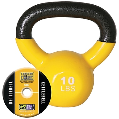 Gofit Vinyl-Dipped Kettelbell And Iron Core Training DVD, Yellow (GOFGFKBELL10)