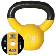 Gofit GF-KBELL10 Vinyl-Dipped Kettelbell And Iron Core Training DVD, Yellow