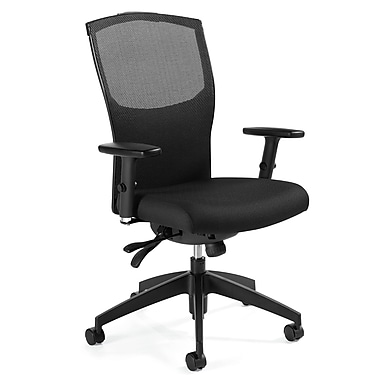 Global Alero Fabric Computer and Desk Office Chair, Stone, Adjustable Arm (QS19613GLBKPB04)