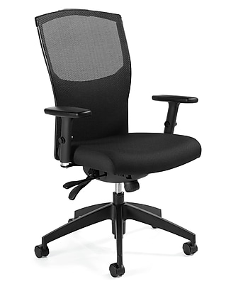 Global Alero Plastic Computer and Desk Office Chair, Adjustable Arms, Black (QS19613GLBKQL10)