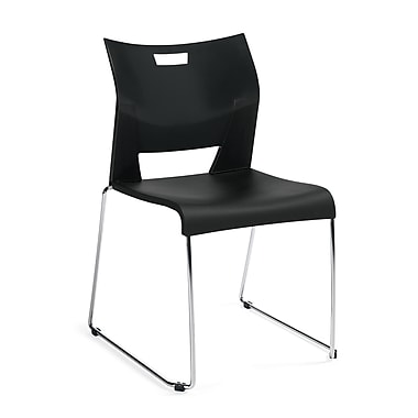 Global® Duet Fabric Armless Stack Chair, Platinum