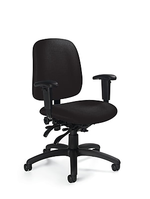Global Goal Fabric Computer and Desk Office Chair, Adjustable Arms, Beige (QS223733NBKUR16)