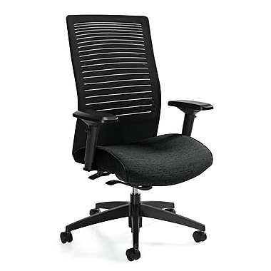 Global Loover Fabric Executive Office Chair, Adjustable Arms, Black (QS26618G5BKQL10)
