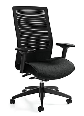 Global Loover Fabric Executive Office Chair, Adjustable Arms, Asphalt (QS26618G5BKPB09)