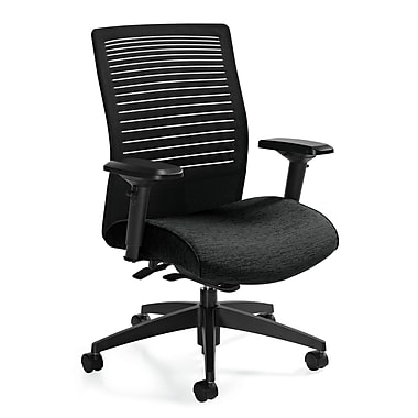 Global Loover Fabric Executive Office Chair, Silver, Adjustable Arm (QS26628G5BKQL19)