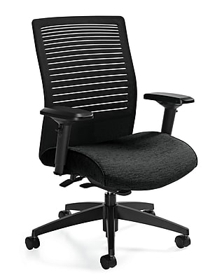 Global Loover Fabric Executive Office Chair, Black, Adjustable Arm (QS26628G5BKQL10)