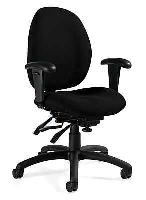 Global Malaga Fabric Computer and Desk Office Chair, Adjustable Arms, Navy (QS31413TDBKQL14)