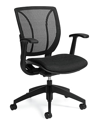 Global Roma Fabric Computer and Desk Office Chair, Fixed Arms, Black (QS1906RFBKQL10)