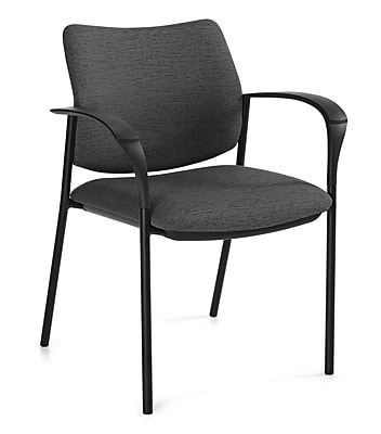 Global Sidero Sprinkle Fabric Mid Back Stacking Chair With Arms, Plum