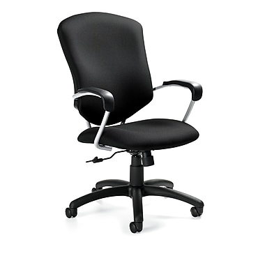 Global Supra Fabric Conference Office Chair, Ebony, Fixed Arm (QS533045UBJN02)