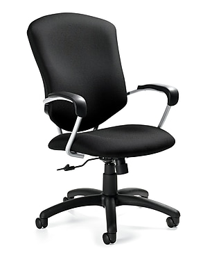 Global Supra Fabric Conference Office Chair, Fixed Arms, Granite Rock (QS533045UBUR20)