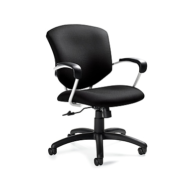 Global Supra Fabric Conference Office Chair, Fixed Arms, Black Coal (QS533145UBUR22)