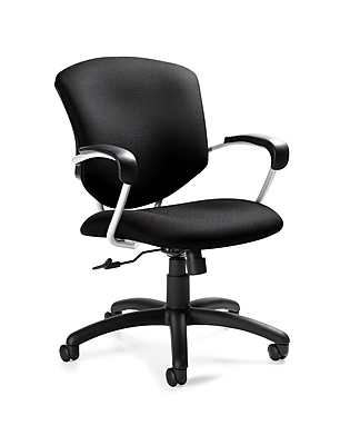 Global Supra Fabric Conference Office Chair, Fixed Arms, Brown Ridge (QS533145UBUR18)