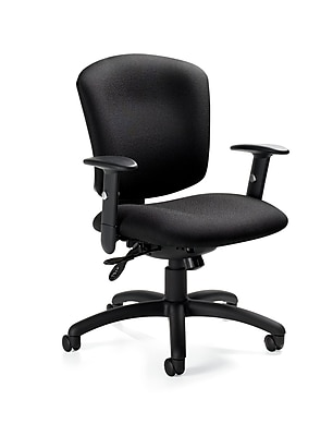 Global Supra Fabric Computer and Desk Office Chair, Adjustable Arms, White Sand (QS53363SCBKUR19)