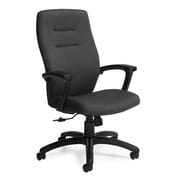 Global Synopsis Fabric Executive Office Chair, White Sand, Fixed Arm (QS50904BKUR19)