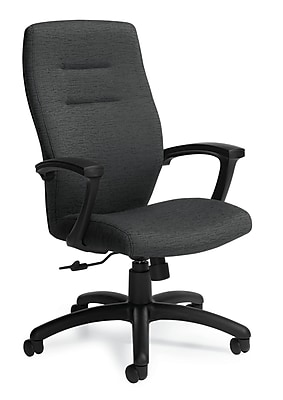 Global Synopsis Fabric Executive Office Chair, Granite Rock, Fixed Arm (QS50904BKUR20)