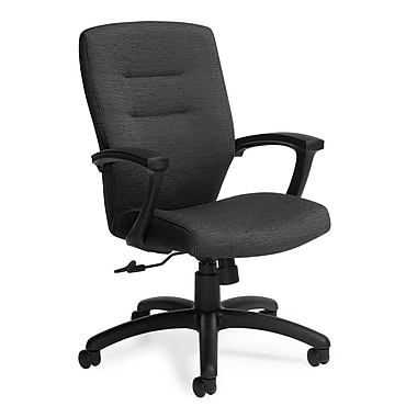 Global Synopsis Fabric Computer and Desk Office Chair, Fixed Arms, Navy (QS50914BKQL14)