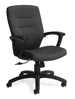Global Synopsis Fabric Computer and Desk Office Chair, Charcoal, Fixed Arm (QS50914BKJN11)