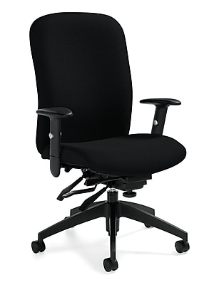 Global Truform Fabric Computer and Desk Office Chair, Adjustable Arms, Granite Rock (QS54503SCBKUR20)