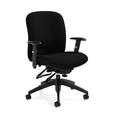 Global Truform Fabric Computer and Desk Office Chair, Black Coal, Adjustable Arm (QSTS54513BKUR22)