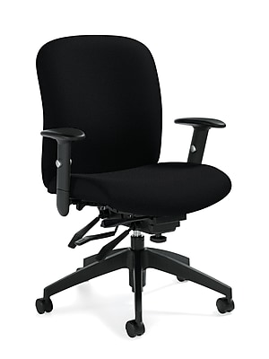 Global Multi-Tilter Fabric Computer and Desk Office Chair, Black, Adjustable Arm (QSTS54513BKS110)