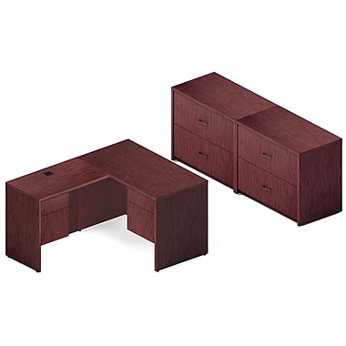 Global Genoa Desking Bundle #5, Quartered Mahogany Laminate, 138