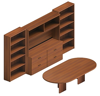 Global Adaptabilities Desking Bundle #10, Avant Honey Laminate, 144