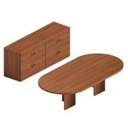 "Global Adaptabilities Desking Bundle #9, Avant Honey Laminate, 96""W/72""W x 116""L x 29""H"