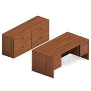 "Global Adaptabilities Desking Bundle #8, Avant Honey Laminate, 72""W x 104""L x 29""H"