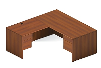 Global Adaptabilities Desking Bundle #2, Avant Honey Laminate, 84