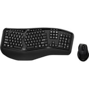 Adesso® Tru-Form Media™ WKB-1500GB USB RF Wireless Ergonomic Membrane Keyboard and Laser Mouse, Black