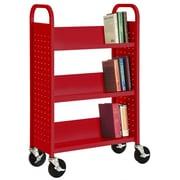 """Sandusky® 46""""H x 28""""W x 14""""D Steel 3 Shelf Single Sided Sloped Book Trucks"""