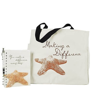 Baudville® Tote Bag With Journal And Pen, Starfish: Making a Difference