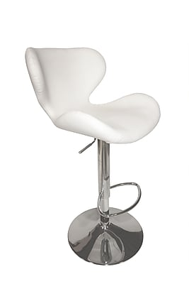 Pastel Furniture Not available 42.25'' Contemporary Swiveling Base Leather Bar Stool, White (QLCG219279978)