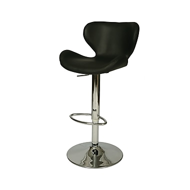 Pastel Furniture Not available 42.25'' Contemporary Swiveling Base Leather Bar Stool, Black (QLCG219279979)