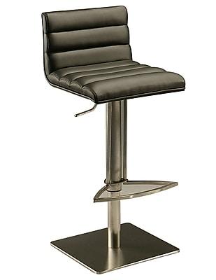 Pastel Dubai Leather Hydraulic Barstool With Black Veneer Back, PU Black