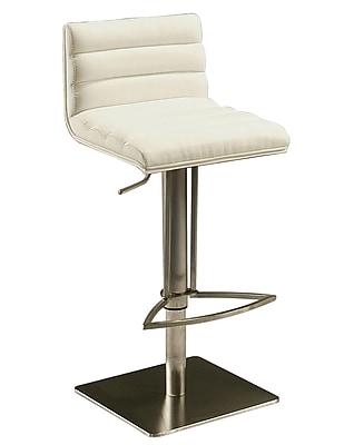 Pastel Dubai Leather Hydraulic Barstool With White Veneer Back, PU Ivory