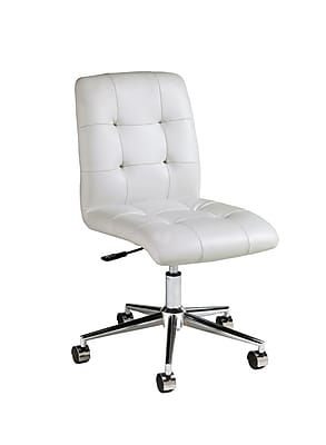 Pastel Furniture Hoquiam Faux Leather Executive Office Chair, Armless, White (QLHQ16477978)