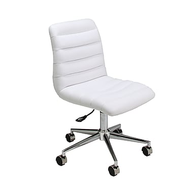 Pastel Furniture Hawthorne Faux Leather Executive Office Chair, Armless, Ivory (QLHW16477978)